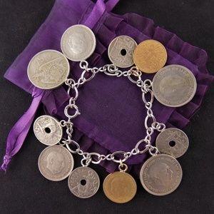 Vintage OLD COINS Charm STERLING Bracelet